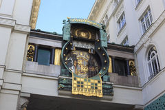 Famous Jugendstil Ankeruhr in Vienna Stock Photos