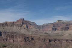 Kaibab trail, Grand Canyon, Arizona,USA. Famous Kaibab trail to the floor of Grand Canyon, Arizona. Early morning. Peaks of mountains and hiking trail. Down the Stock Photography