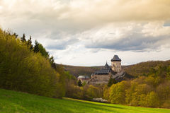 Famous Karlstejn castle  in autumn forest,Czech Republic Royalty Free Stock Photos