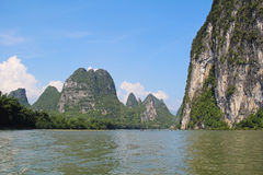 Famous karst mountains at Li river near Yangshuo, China Royalty Free Stock Photography