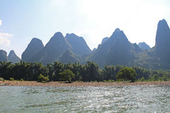 Famous karst mountains at Li river near Yangshuo, China Royalty Free Stock Photos