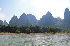 Famous karst mountains at Li river near Yangshuo, China Royalty Free Stock Photos