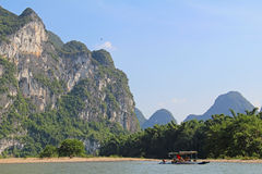 Famous karst mountains at Li river near Yangshuo, China. Karst mountains at Li river near Yangshuo, Guangxi province, China Stock Photos