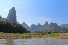 Famous karst mountains at Li river near Yangshuo, China Royalty Free Stock Image