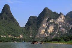 Famous karst mountains at Li river near Yangshuo, Guangxi province, China Royalty Free Stock Image