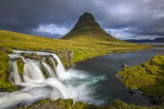 Famous Kirkjufell mount and waterfall royalty free stock photos