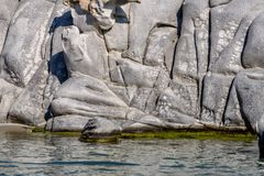 Famous Kolimbitres beach and big stones in Paros, Greece. stock photography
