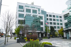 Famous Komo Plaza in Seattle - the building of Greys Anatomy - SEATTLE / WASHINGTON - APRIL 11, 2017. Famous Komo Plaza in Seattle - the building of Greys Stock Photo