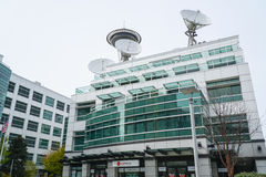 Famous Komo Plaza in Seattle - the building of Greys Anatomy - SEATTLE / WASHINGTON - APRIL 11, 2017. Famous Komo Plaza in Seattle - the building of Greys Royalty Free Stock Photo