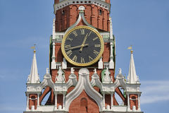 The Famous Kremlin`s Clock and Gorgeous Decor of Savior Tower Royalty Free Stock Photos