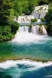 Wild river at the Krka Waterfalls royalty free stock images