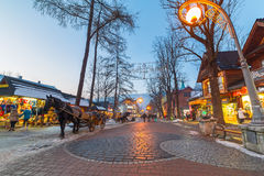 Famous Krupowki street in Zakopane at winter time Royalty Free Stock Image