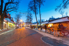 Famous Krupowki street in Zakopane at winter time Stock Images
