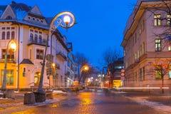 Famous Krupowki street in Zakopane at winter time Stock Image