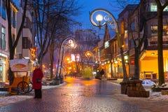 Famous Krupowki street in Zakopane at winter time Stock Images