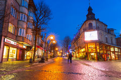 Famous Krupowki street in Zakopane at winter time Stock Photos