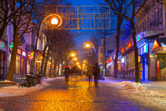 Famous Krupowki street in Zakopane at winter time Royalty Free Stock Photo