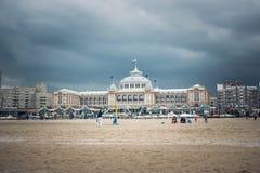 A famous  Kurhaus of Scheveningen , drama sky. A famous  Kurhaus of Scheveningen, Colourful Drama sky, Holidays in Netherlands stock images