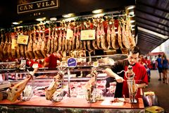 Famous La Boqueria market in Barcelona Royalty Free Stock Photos