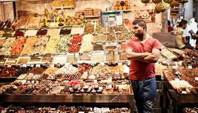 Famous La Boqueria market in Barcelona Royalty Free Stock Photography
