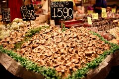 Famous La Boqueria market with mushrooms Royalty Free Stock Image