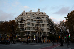 Famous La Pedrera, Gaudi building in Barcelona city, Spain Stock Images