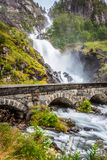 The famous Laatefossen in Odda, one of the biggest waterfalls in Royalty Free Stock Photo
