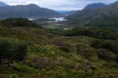 The famous Ladies View which is on the Ring of Kerry in the Killarney National Park Ireland. On an overcast day royalty free stock photos