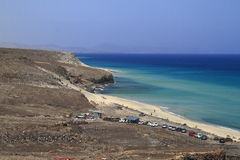 The famous lagoon in Playa Del Mar Nombre, Fuerteventura. Canary Islands, Spain royalty free stock image