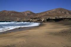 The famous lagoon in Playa la Solapa, Fuerteventura Royalty Free Stock Image
