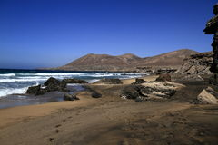 The famous lagoon in Playa la Solapa, Fuerteventura Royalty Free Stock Images