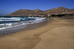The famous lagoon in Playa la Solapa, Fuerteventura Stock Images