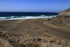 The famous lagoon in Playa la Solapa, Fuerteventura Royalty Free Stock Photography