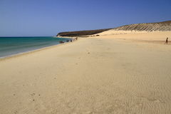 The famous lagoon in Risco El Paso at Playas de Sotavento, Fuert. Eventura, Canary Islands, Spain royalty free stock photography