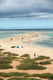 The famous lagoon in Risco El Paso at Playas de Sotavento. Fuerteventura stock photos