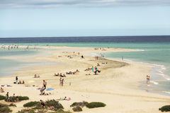The famous lagoon in Risco El Paso at Playas de Sotavento. Fuerteventura royalty free stock photos