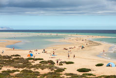 The famous lagoon in Risco El Paso at Playas de Sotavento,. Fuerteventura stock images