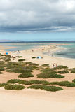 The famous lagoon in Risco El Paso at Playas de Sotavento,. Fuerteventura royalty free stock images