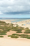 The famous lagoon in Risco El Paso at Playas de Sotavento,. Fuerteventura royalty free stock photos