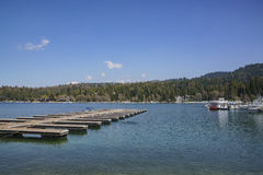 The famous Lake arrowhead. Morning view of the dock and lake view around the famous Lake arrowhead, Los Angeles County, California Royalty Free Stock Images