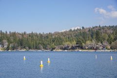 The famous Lake arrowhead. Morning view of the dock and lake view around the famous Lake arrowhead, Los Angeles County, California Royalty Free Stock Photography
