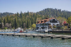 The famous Lake arrowhead. San Bernardino, APR 19: Port in the famous Lake arrowhead on APR 19, 2017 at San Bernardino Royalty Free Stock Image