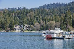 The famous Lake arrowhead. San Bernardino, APR 19: Ship in the famous Lake arrowhead on APR 19, 2017 at San Bernardino Royalty Free Stock Photos