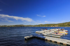 The famous Lake arrowhead. San Bernardino, SEP 1: Dock and lake view around the famous Lake arrowhead on SEP 1, 2014 at San Bernardino, Los Angeles County Stock Photo