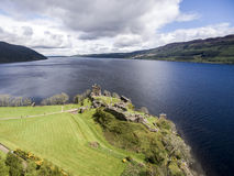 Famous lake Loch Ness aerial shot green Scotland United Kingdom royalty free stock photos