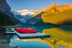 The famous Lake Louise on a golden morning. The iconic lake of Banff National Park Royalty Free Stock Image