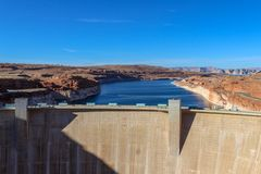 Famous Lake Powell (Glenn Canyon) Dam Near Page, Arizona, USA stock photos
