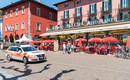 Famous lake promenade in the old town of Ascona. Royalty Free Stock Image