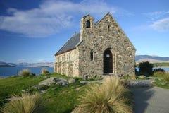 Famous Lake Tekapo church. Famous church with beautiful lake Tekapo against colorful azure sky. Lake Tekapo. South Island. New Zealand Stock Image