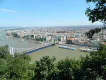 Famous lanchid ( bridge with chains) from Budapest. The famous Budapest, Hungary lanchid or bridge with chains, with a view from Gellert Hill Royalty Free Stock Image